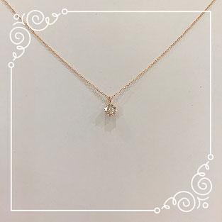 K18 ピンクゴールド 1粒ダイヤモンド